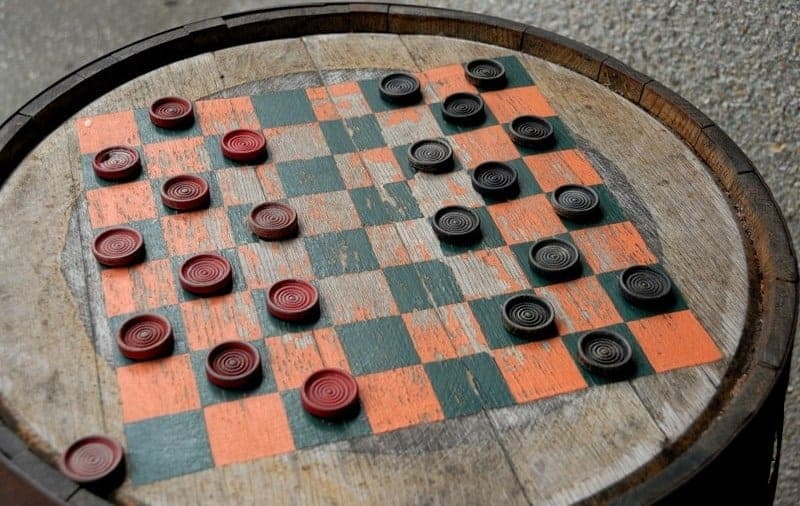 checkerboard type and chess draughts were first played on a barrel