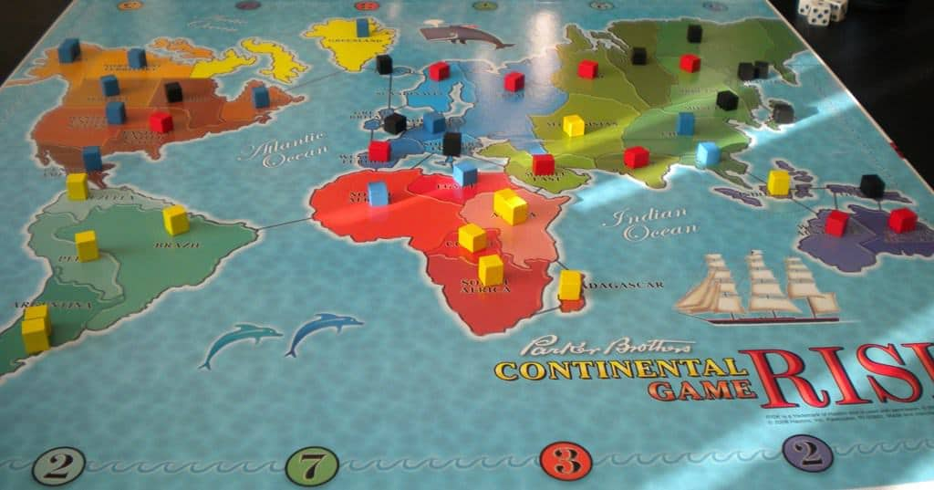 game of risk with wooden game pieces is one of the oldest games still being printed