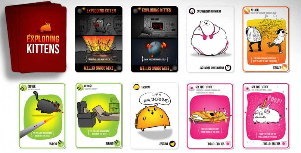 Exploding Kittens is a popular card game with funny art covering all categories of cat life