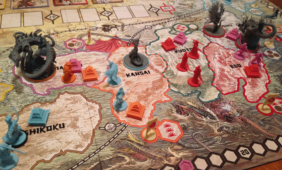 Rising Sun's complete game board is based on original lands of Japan and feature beautiful art