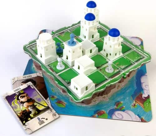 Santorini comes with pretty 3D cities and tower pieces